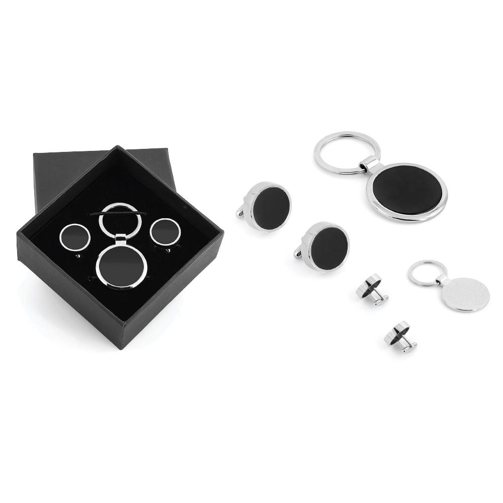 Kutulu Metal Anahtarlık Kol Düğmeli Set